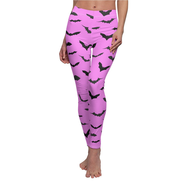 Pink Black Bats Print Women's Halloween Costume Cosplay Casual Leggings- Made in USA-Casual Leggings-Heidi Kimura Art LLC
