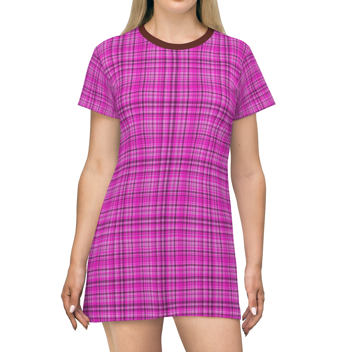 Pink Plaid Tartan Print Designer Crew Neck Long T-shirt Dress-Made in USA-T-Shirt Dress-L-Heidi Kimura Art LLC