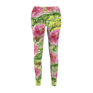Yellow Rose Floral Print Women's Tights / Casual Leggings - Made in USA-Casual Leggings-M-Heidi Kimura Art LLC