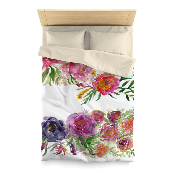 Mixed Summer Floral Pattern Green Queen Size or Twin Size Microfiber Duvet Cover-Duvet Cover-Twin-Cream-Heidi Kimura Art LLC