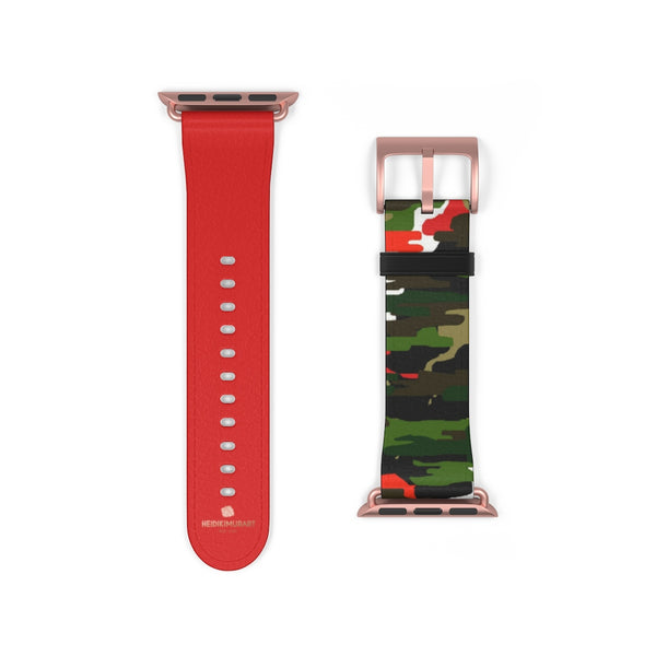Green & Red Camo Army Print 38mm/42mm Watch Band For Apple Watch- Made in USA-Watch Band-38 mm-Rose Gold Matte-Heidi Kimura Art LLC