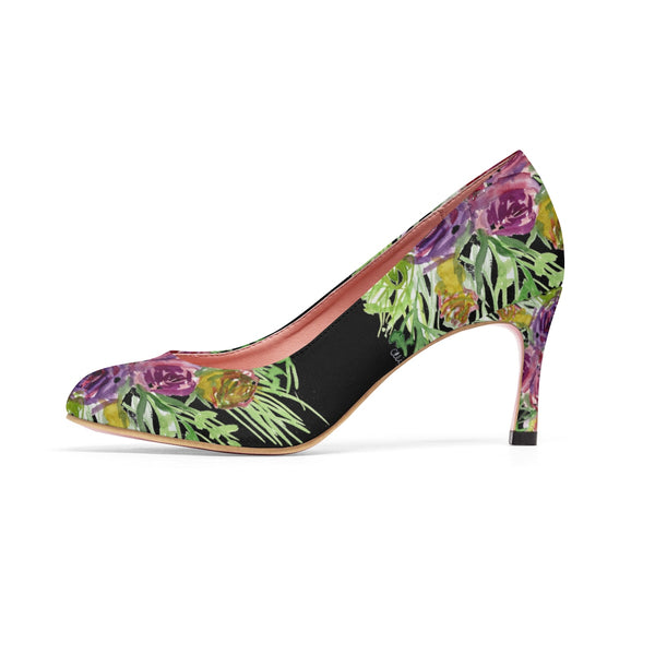 "Black Bridal Rose Wedding Floral Print Women's 3"" High Heels Pumps Shoes (US Size: 5-11)-3 inch Heels-Heidi Kimura Art LLC"