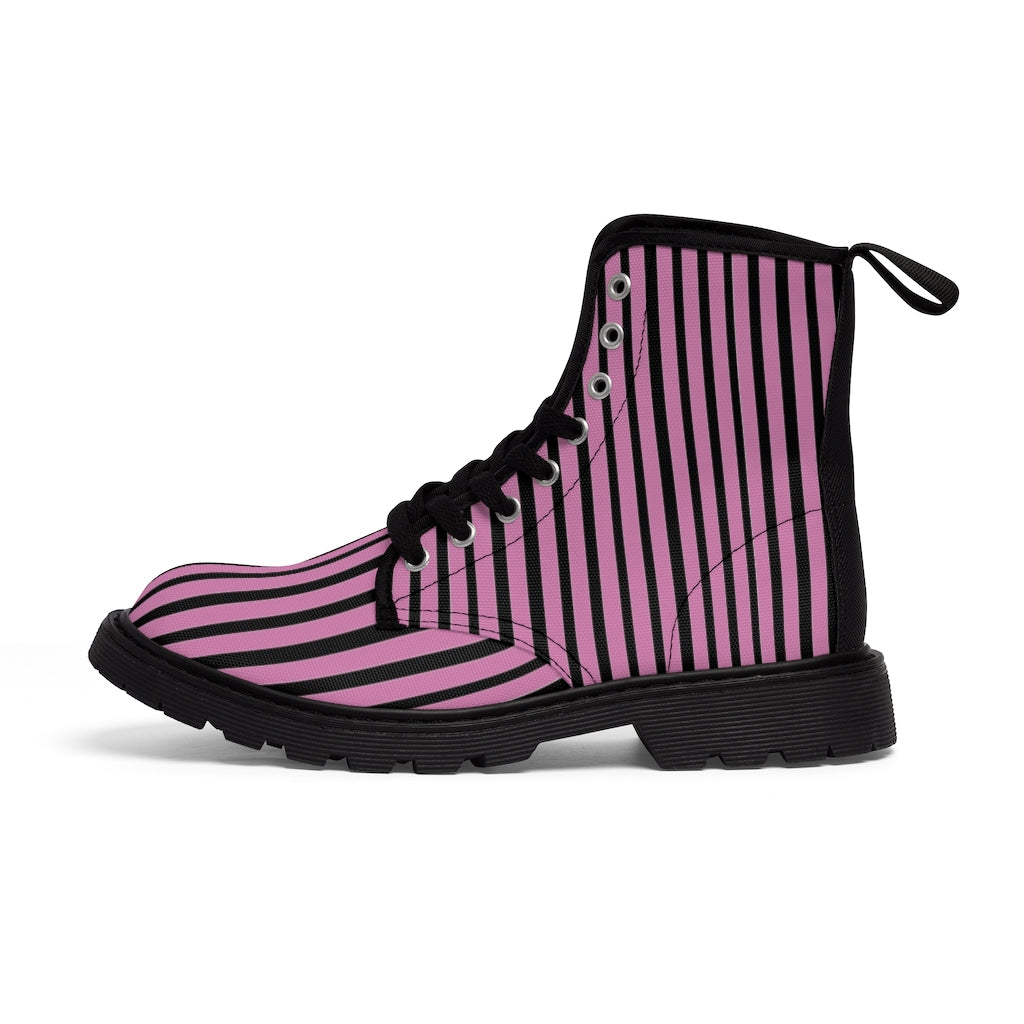 Pink Striped Print Men's Boots, Black Stripes Best Hiking Winter Boots Laced Up Shoes For Men-Shoes-Printify-Black-US 7-Heidi Kimura Art LLC Pink Striped Print Men's Boots, Black Pink Stripes Men's Canvas Hiking Winter Boots, Fashionable Modern Minimalist Best Anti Heat + Moisture Designer Comfortable Stylish Men's Winter Hiking Boots Shoes For Men (US Size: 7-10.5)