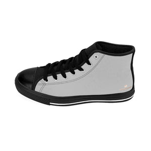 Soft Grey Men's Sneakers, Light Grey Solid Color Print Designer Men's Shoes, Men's High Top Sneakers US Size 6-14, Mens High Top Casual Shoes, Unique Fashion Tennis Shoes, Solid Color Sneakers, Mens Modern Footwear (US Size: 6-14)