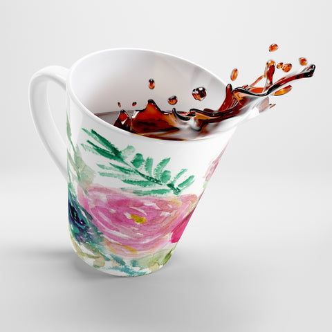 Mixed Florals 12 Oz. Cute Pink Rose Flower Floral Print Ceramic Latte Mug-Made in USA-Mug-12oz-Heidi Kimura Art LLC