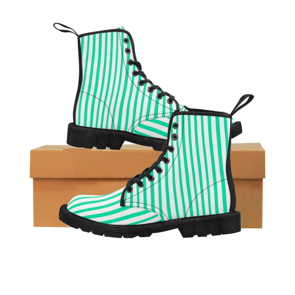Turquoise Blue Women's Canvas Boots, White Blue Striped Designer Winter Boots For Ladies-Shoes-Printify-Black-US 9-Heidi Kimura Art LLC Turquoise Blue Women's Canvas Boots, Vertically White and Turquoise Blue  Striped Print Designer Women's Winter Lace-up Toe Cap Boots Shoes For Women   (US Size 6.5-11)