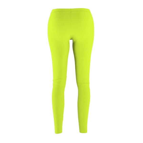 Lime Green Solid Color Women's Casual Leggings - Made in USA (US Size: XS-2XL)-Casual Leggings-Heidi Kimura Art LLC