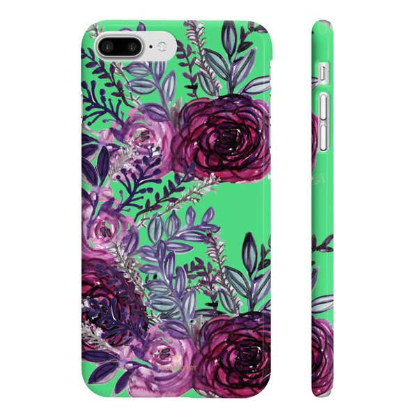Lime Green Slim iPhone/ Samsung Galaxy Floral Purple Rose Phone Case, Made in UK-Phone Case-iPhone 7 Plus, iPhone 8 Plus Slim-Glossy-Heidi Kimura Art LLC