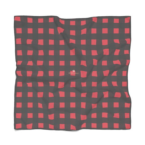 "Gold Coins Poly Scarf, St. Patrick's Day Fashion Accessories For Men/Women- Made in USA Red Buffalo Scarf, Black Red Buffalo Plaid Poly Scarf, Fall Black And Red Plaid Print Lightweight Delicate Sheer Poly Voile or Poly Chiffon 25""x25"" or 50""x50"" Luxury Designer Fashion Accessories- Made in USA, Fashion Sheer Soft Light Polyester Square Scarf"