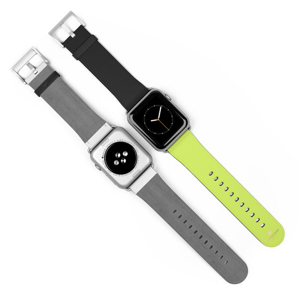 Light Green Black Dual Solid Color Print Premium 38mm/42mm Watch Band- Made in USA-Watch Band-Heidi Kimura Art LLC