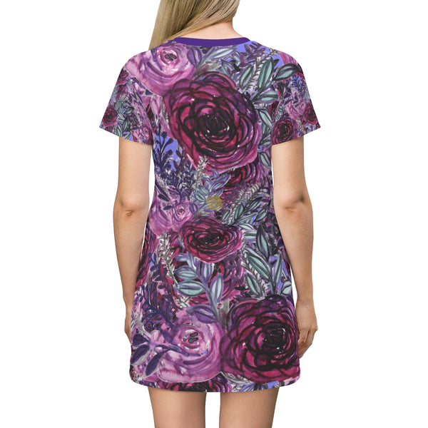 Purple Pink Rose Floral Print Women's Long T-Shirt Dress- Made in USA-T-Shirt Dress-Heidi Kimura Art LLC