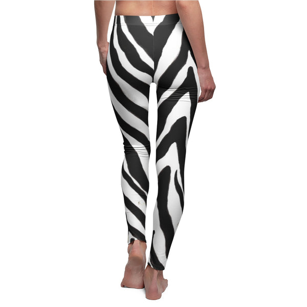 Women's Designer Zebra Stripe Animal Print Skinny Fit Casual Leggings - Made in USA-Casual Leggings-Heidi Kimura Art LLC Women's Zebra Casual Leggings, Women's Designer Zebra Stripe Animal Print Skinny Fit Casual Leggings (US Size: XS-2XL) Plus Size Available, Made in USA
