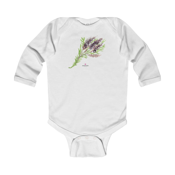 Purple French Lavender Floral Print Infant Long Sleeve Bodysuit - Made in UK-Kids clothes-White-12M-Heidi Kimura Art LLC