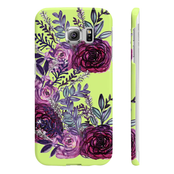 Yellow Slim iPhone/ Samsung Galaxy Floral Purple Rose iPhone or Samsung Case, Made in UK-Phone Case-Samsung Galaxy S6 Edge Slim-Glossy-Heidi Kimura Art LLC