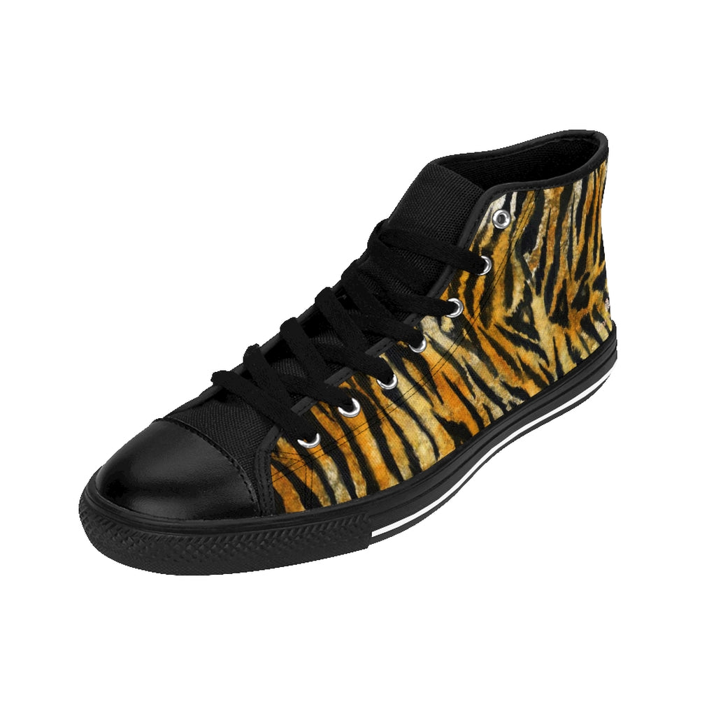 Orange Tiger Men's High-top Sneakers, Animal Striped Print Designer Men's Shoes, Men's High Top Sneakers US Size 6-14, Mens High Top Casual Shoes, Unique Fashion Tennis Shoes, Tiger Print Canvas Sneakers, Mens Modern Footwear, Wildlife Gift Idea, Animal Lover Print Shoes (US Size: 6-14)