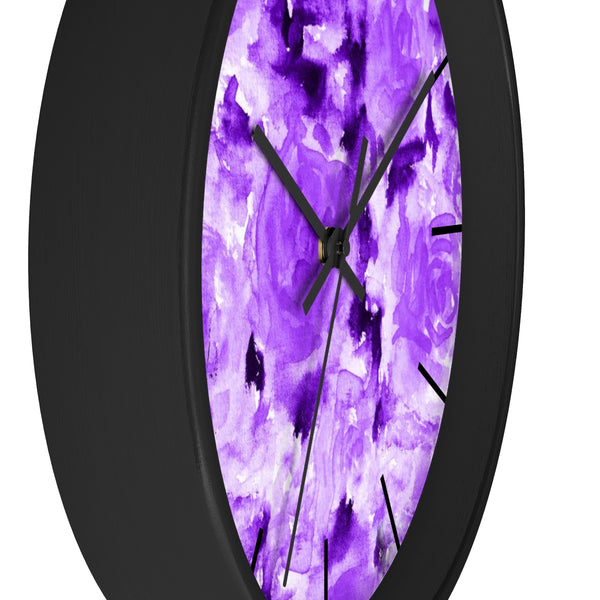Purple Rose Floral Print 10 inch Diameter Modern Unique Wall Clock - Made in USA-Wall Clock-Heidi Kimura Art LLC