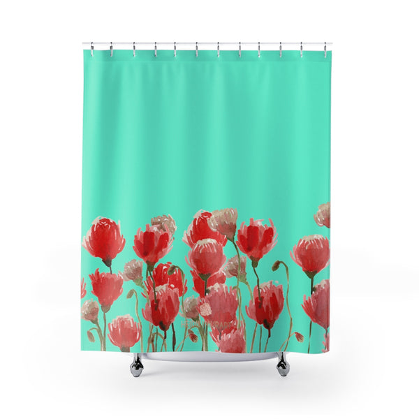 "Blue Red Poppy Flower Floral Print Designer Polyester Shower Curtains- Made in USA-Shower Curtain-71"" x 74""-Heidi Kimura Art LLC Blue Red Poppy Shower Curtains, Turquoise Blue and Red Poppy Flower Floral Print Designer Polyester Shower Curtains- Printed in USA, Premium Bathroom Shower Curtains Home Decor Large 100% Polyester 71x74 inches"