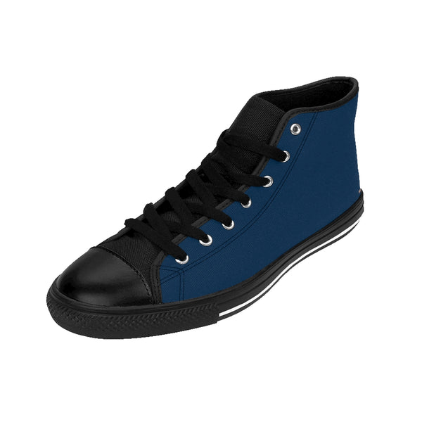 Prussian Blue Solid Color Women's High Top Sneakers Running Shoes (US Size: 6-12)-Women's High Top Sneakers-Heidi Kimura Art LLC Blue Solid Color Women's Sneakers, Prussian Blue Solid Color Women's High Top Sneakers Running Shoes (US Size: 6-12)