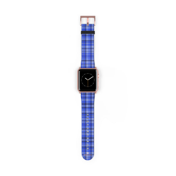Blue Plaid Tartan Scottish Print 38mm/42mm Watch Band For Apple Watch- Made in USA-Watch Band-42 mm-Rose Gold Matte-Heidi Kimura Art LLC