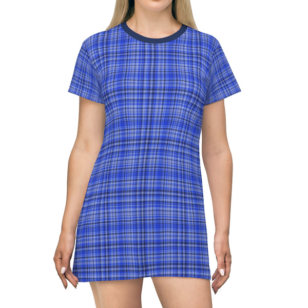 Preppy Blue Plaid Tartan Print Designer Crew Neck Long T-shirt Dress-Made in USA-T-Shirt Dress-L-Heidi Kimura Art LLC
