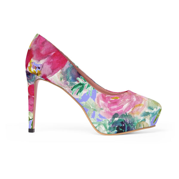 "Red Hibiscus Flower Rose Mixed Floral Print Women's 4"" Platform Heels (Size 5-11)-4 inch Heels-US 11-Heidi Kimura Art LLC"