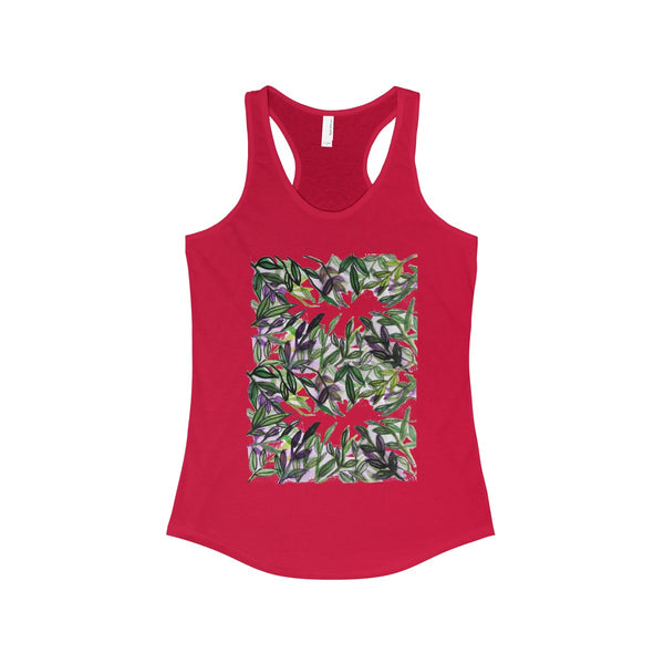 Tropical Leaves Vacation Floral Women's Ideal Racerback Tank - Made in the U.S.A.-Tank Top-Solid Red-XS-Heidi Kimura Art LLC