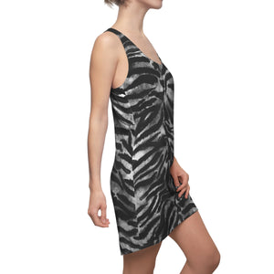 Women's Black Grey Wild Tiger Stripe Animal Print Long Best Racerback Dress, Made in USA-Women's Sleeveless Dress-L-Heidi Kimura Art LLC Grey Sleeveless Dress, Women's Black Grey Wild Tiger Stripe Animal Print Stylish Long Best Sleeveless Designer Racerback Dress, Made in USA (US Size: XS-2XL)