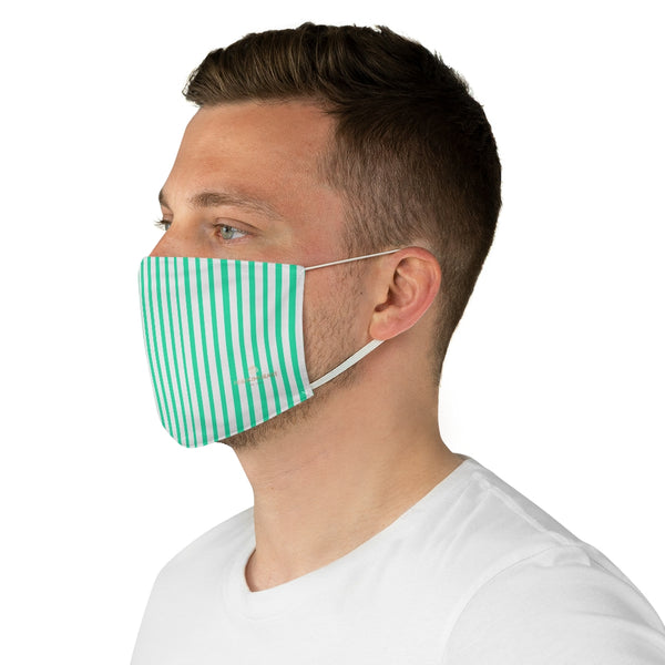"Turquoise Blue Striped Face Mask, Fashion Face Mask For Men/ Women, Designer Premium Quality Modern Polyester Fashion 7.25"" x 4.63"" Fabric Non-Medical Reusable Washable Chic One-Size Face Mask With 2 Layers For Adults With Elastic Loops-Made in USA"
