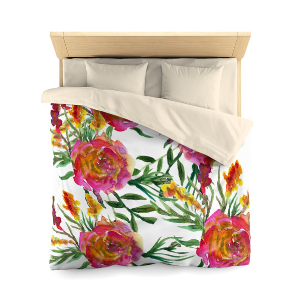 Pink Rose Flower Girlie Floral Wreath Print Super Soft Polyester Microfiber Duvet Cover-Duvet Cover-Queen-Cream-Heidi Kimura Art LLC