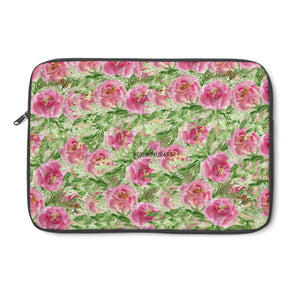 "Pink Rose Floral Print 12', 13"", 14"" Floral Laptop Sleeve - Designed + Made in the USA-Laptop Sleeve-13""-Heidi Kimura Art LLC"