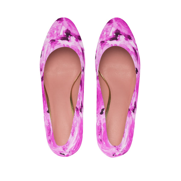 "Pink Rose Japanese Floral Print Women's 3"" High Heels Pumps Shoes (US Size 5-11)-3 inch Heels-Heidi Kimura Art LLC"