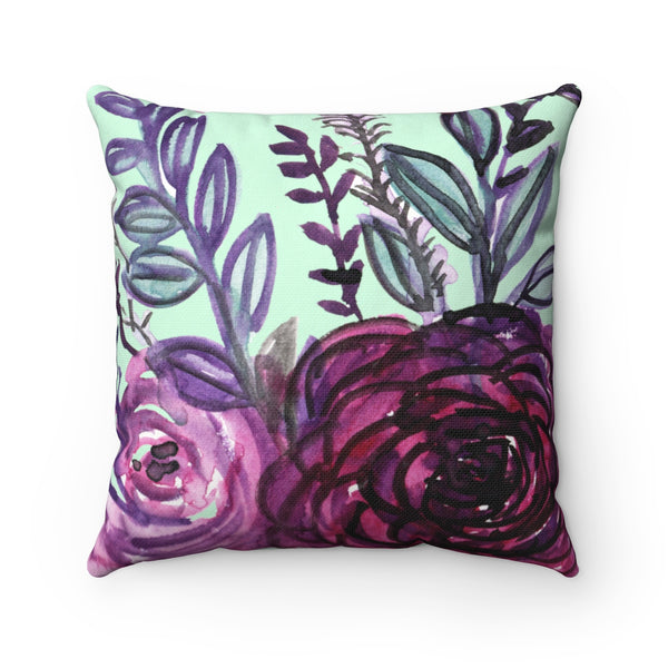 Purple Floral English Rose Print Premium Luxury Polyester Square Pillow - Made in USA-Pillow-14x14-Heidi Kimura Art LLC