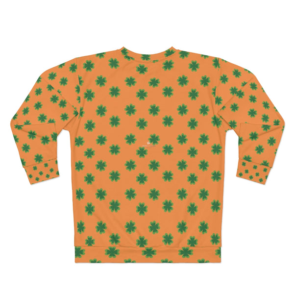 Orange St. Patrick's Day Green Clover Print Unisex Couple's Sweatshirt- Made in USA-Unisex Sweatshirt-Heidi Kimura Art LLC