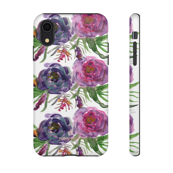 Pink Floral Print Phone Case, Roses Tough Designer Phone Case -Made in USA-Phone Case-Printify-iPhone XR-Matte-Heidi Kimura Art LLC