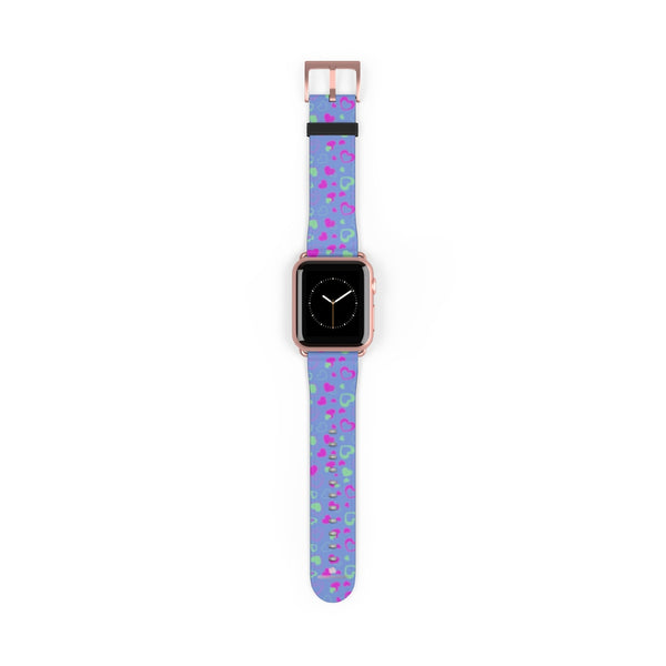 Light Violet Purple Pink Hearts 38mm/42mm Watch Band For Apple Watch- Made in USA-Watch Band-38 mm-Rose Gold Matte-Heidi Kimura Art LLC