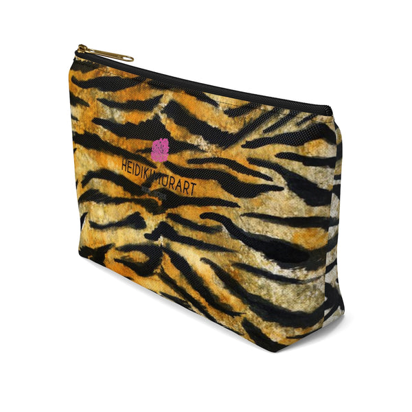 Wild Orange Bengal Tiger Stripe Animal Print Accessory Pouch w T-bottom-Accessory Pouch-Heidi Kimura Art LLC