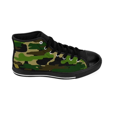 Military Army Green Camouflage Print Women's High Top Sneakers Running Shoes (US Size: 6-12)-Women's High Top Sneakers-Heidi Kimura Art LLC