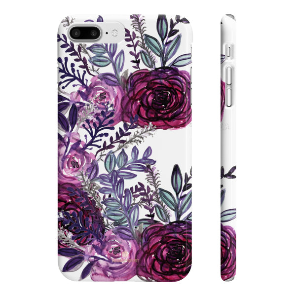 White Purple Rose Slim iPhone/ Samsung Galaxy Floral Print Phone Case, Made in UK-Phone Case-iPhone 7 Plus, iPhone 8 Plus Slim-Glossy-Heidi Kimura Art LLC