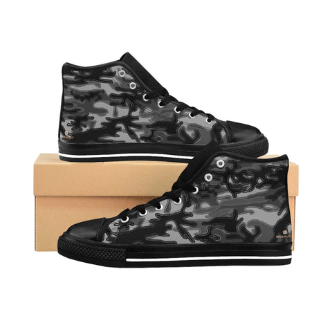 "Black Camo Women's Sneakers, Army Print Designer High-top Sneakers Tennis Shoes-Shoes-Printify-Black-US 9-Heidi Kimura Art LLCBlack Camo Women's Sneakers, Grey/ Gray Dark Modern Chic Army Military Camouflage Print 5"" Calf Height Women's High-Top Sneakers Running Canvas Shoes (US Size: 6-12)"