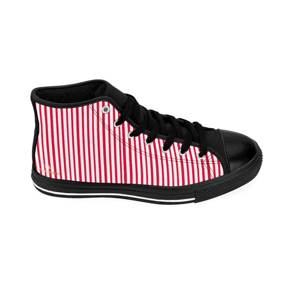 Red Striped High-top Sneakers, Vertically Red Stripes Men's Designer Tennis Running Shoes-Shoes-Printify-Heidi Kimura Art LLC Red Striped Men's High-top Sneakers, Red White Modern Stripes Men's High Tops, High Top Striped Sneakers, Striped Casual Men's High Top For Sale, Fashionable Designer Men's Fashion High Top Sneakers, Tennis Running Shoes (US Size: 6-14)