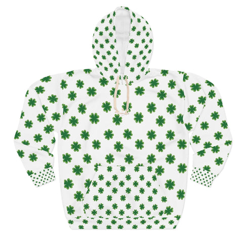 White Green Clover St. Patrick's Day Unisex Pullover Hoodie For Men/Women- Made in USA-Unisex Hoodie-2XL-Heidi Kimura Art LLC
