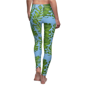 Light Blue Green Tropical Leaf Print Women's Dressy Long Casual Leggings- Made in USA-Casual Leggings-White Seams-M-Heidi Kimura Art LLC