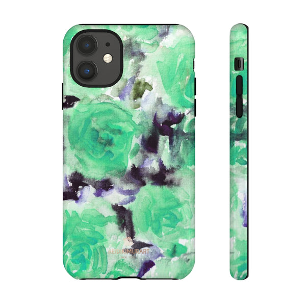 Turquoise Floral Print Tough Cases, Designer Phone Case-Made in USA-Phone Case-Printify-iPhone 11-Glossy-Heidi Kimura Art LLC
