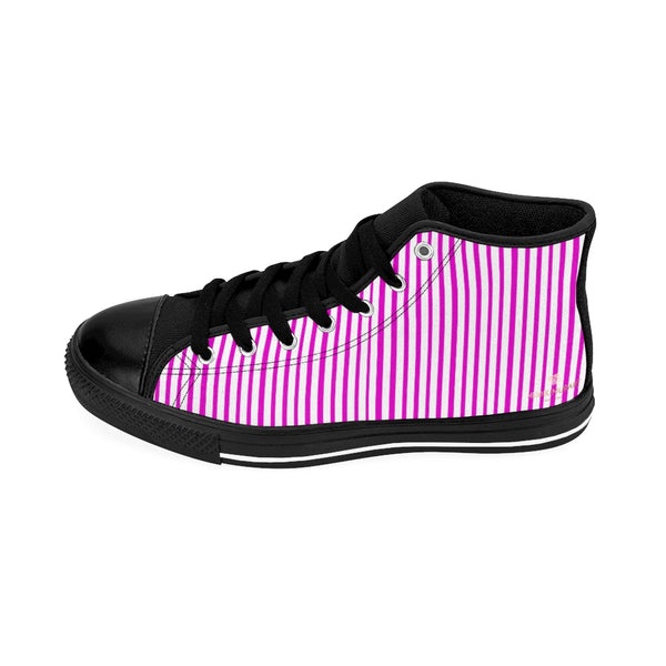 Pink Striped Men's High-top Sneakers, Vertically Stripes Men's Designer Tennis Running Shoes-Shoes-Printify-Heidi Kimura Art LLC Pink Striped Men's High-top Sneakers, Pink White Modern Stripes Men's High Tops, High Top Striped Sneakers, Striped Casual Men's High Top For Sale, Fashionable Designer Men's Fashion High Top Sneakers, Tennis Running Shoes (US Size: 6-14)