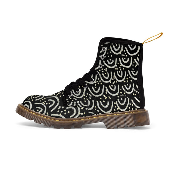 Black Mermaid Scale Print Anti Heat + Moisture Designer Men's Winter Boots Shoes-Men's Boots-Heidi Kimura Art LLC
