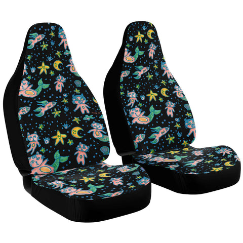 Cat Mermaid Car Seat Covers, Black Washable Cute Best Designer Essential Premium Quality Best Machine Washable Microfiber Luxury Car Seat Cover For Cat Lovers- 2 Pack For Your Car Seat Protection, Car Seat Protectors, Car Seat Accessories, Pair of 2 Front Seat Covers, Custom Seat Covers