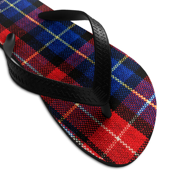 Red Plaid Tartan Scottish Classic Print Unisex Designer Flip-Flops - Made in USA-Flip-Flops-Heidi Kimura Art LLC