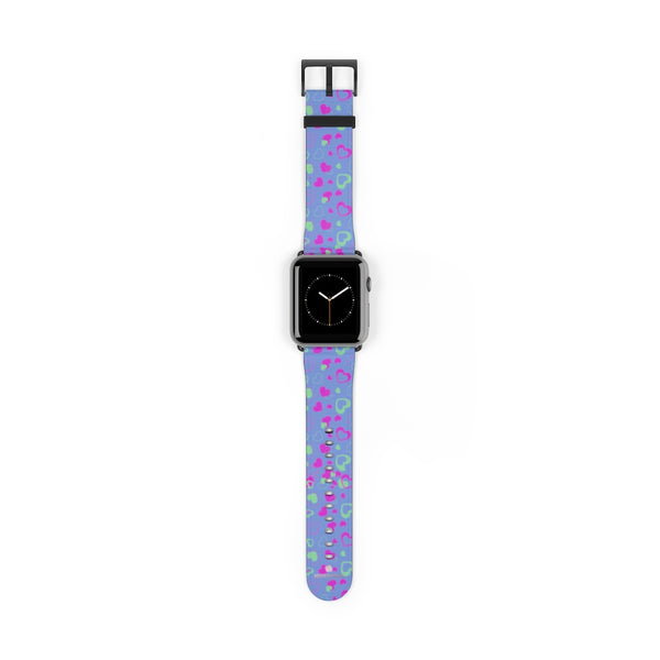 Light Violet Purple Pink Hearts 38mm/42mm Watch Band For Apple Watch- Made in USA-Watch Band-42 mm-Black Matte-Heidi Kimura Art LLC