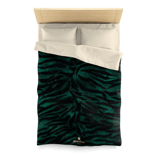 Green Tiger Stripe Duvet Cover, Animal Print Queen/Twin Size Microfiber Bedding Cover-Duvet Cover-Twin-Cream-Heidi Kimura Art LLC