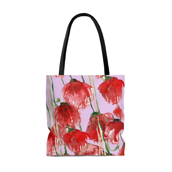 Light Pink Pacific Northwest Red Tulip Flower Floral Print Designer Tote Bag - Made in USA-Tote Bag-Heidi Kimura Art LLC